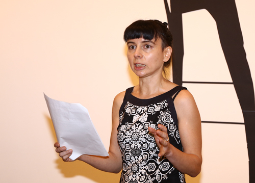 Franca Bartholomäi at the A Girl Named K exhibition in Hanoi, October 2019. Photo by VnExpress/Nguyen Minh.