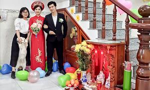Saigon couple stages online Covid-19 wedding