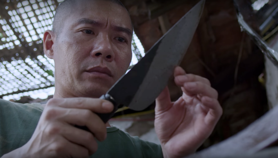 A video of Cong Ly using a knife in a TV series is used for advertisement of a knife brand. Photo courtesy of VFC.