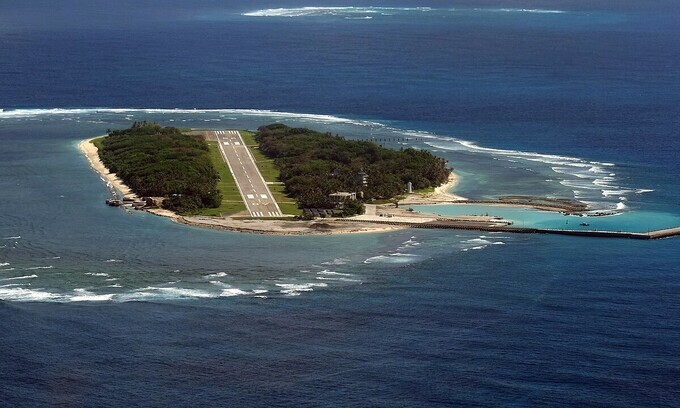 Aerial view of the Itu Aba Island, part of Vietnams Spratly Islands. Photo by AFP.