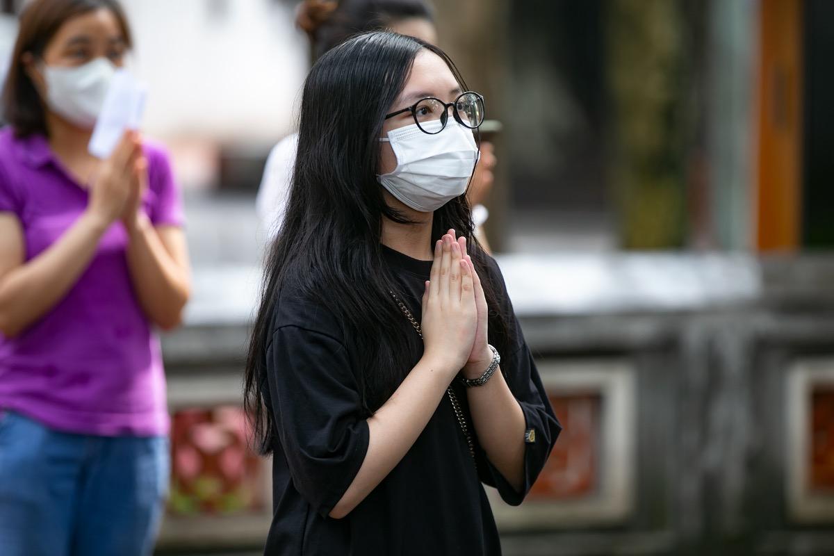 Minh Chau from Hoan Kiem Secondary School said: I have revised carefully but I still feel worried.