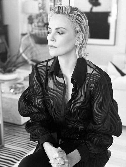 Charlize Theron in Cong Tris shirt. Photo courtesy of Cong Tri.