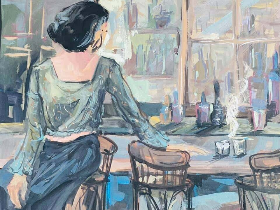 Cafe by Nguyen Ly Bang is a Gouache painting.