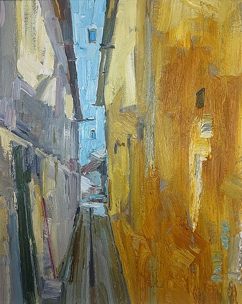 Hem Sai Gon (Saigon Alley) by Pham Cong Danh.   Many painters have voluntarily donated 10-100 percent of their sales to the hospitalArt lovers can visit the My Thuat Bui Facebook page and comment under these paintings to offer their prices, which must be higher at least VND100.000 than the previous one.