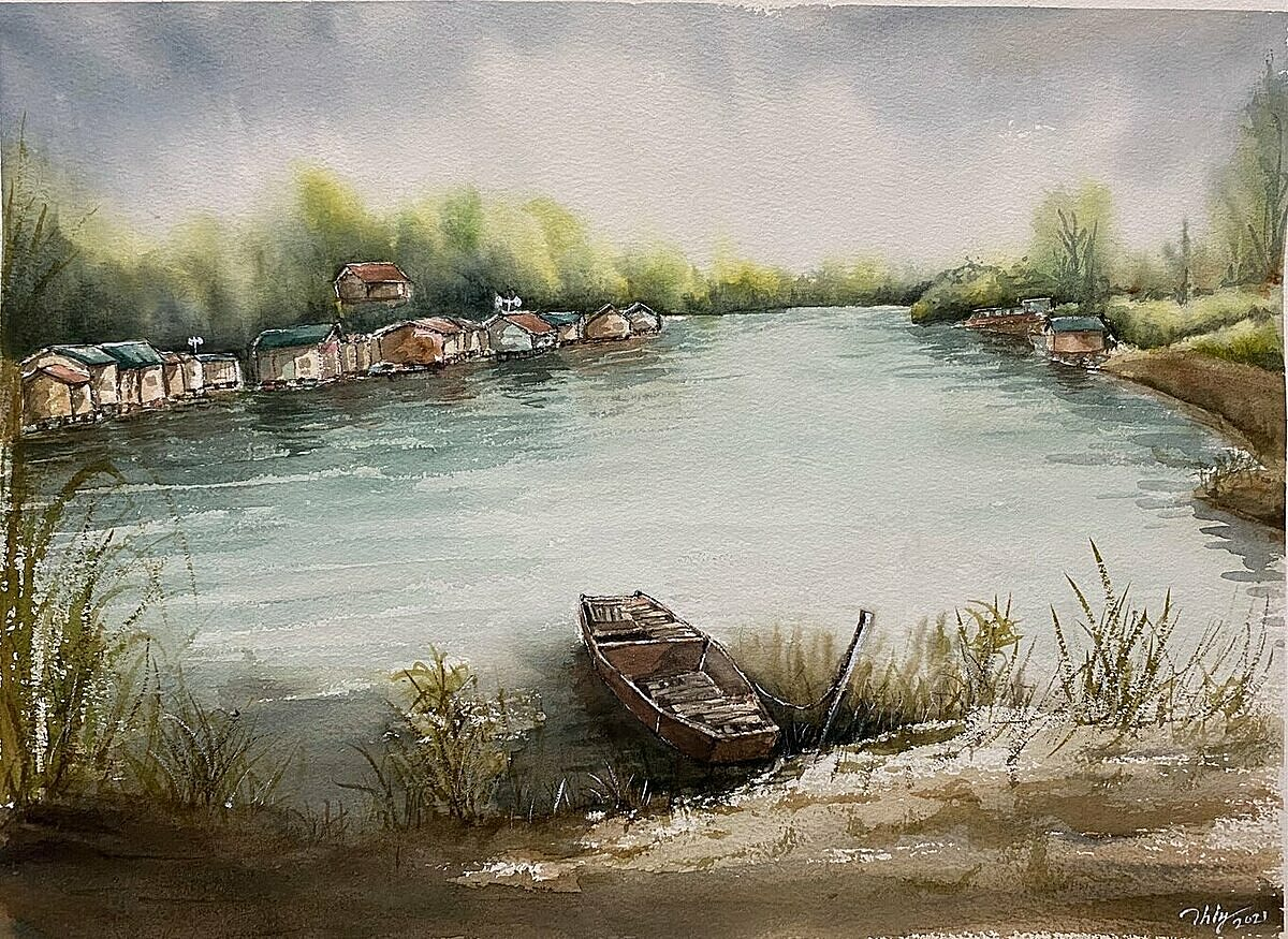 Xom Phao Giua Bai Song (Village On The River). watercolor on paper by Tran Hai Ly.