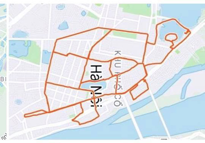 A turtle created by Viets running routes on Strava. Photo courtesy of Dang Viet.