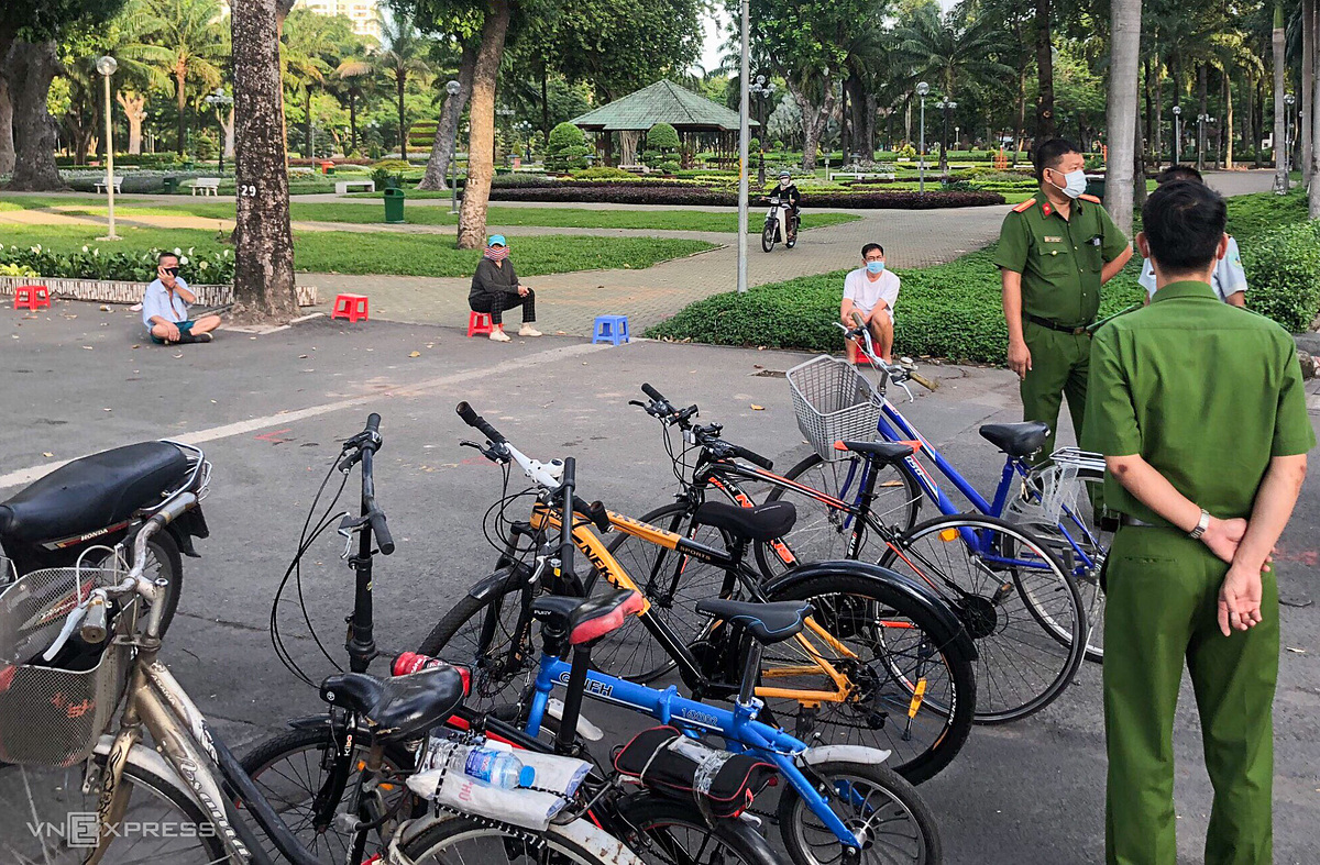 Bicycles are guarded by the police.