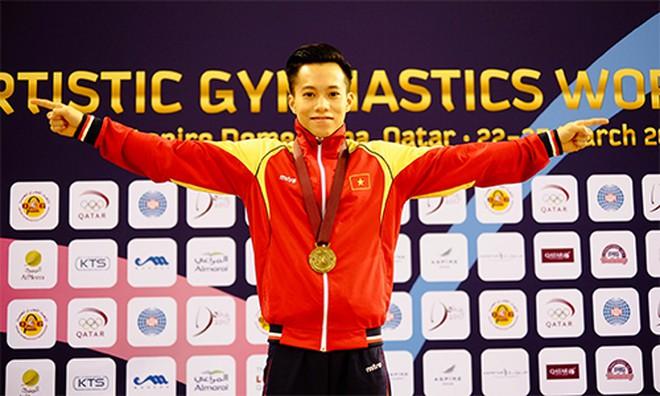 Le Thanh Tung wins a gold medal at the Artistic Gymnastics World Championships in Doha, Qatar 2017. Photo courtesy of International Gymnastics Federation.