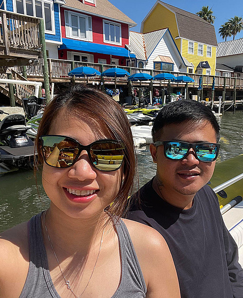 Tram Nguyen and her husband during a trip to Florida, U.S, in April 2021. Photo courtesy of Tram.