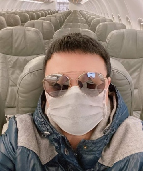 Derek Pham is on a plane in Los Angeles airport, California, July, 2021. Photo courtesy of Pham.