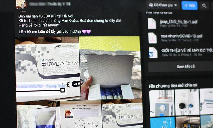 Covid-19 quick test kits flood social media