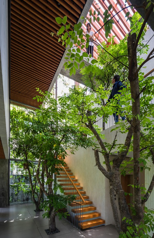 A large void was created by cutting the volume through three floors, in the diagonal direction of the section. The void incorporates plants and trees, providing private rooms with additional natural light. It gives a feeling of continuity of the park, to all three floors of the abode.
