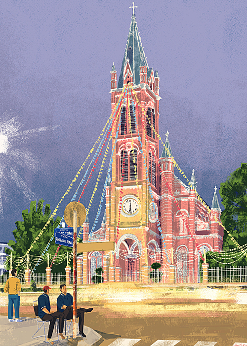 Daniel Ansel Tingcungcos illustration of Tan Dinh Church, dubbed the Pink Church by locals. Photo courtesy of the artist.