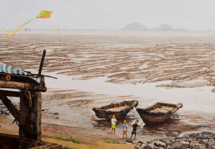Bien Chieu (Afternoon Sea) by Pham Binh Chuong, a painting in the exhibition. Photo courtesy of River Oi.