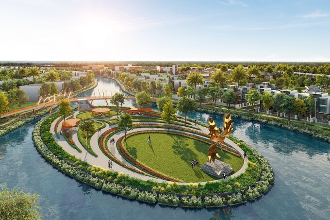 The prime riverside location and green enviroment in the urban center of Phuong Hoang Island. Photo by: Novaland.
