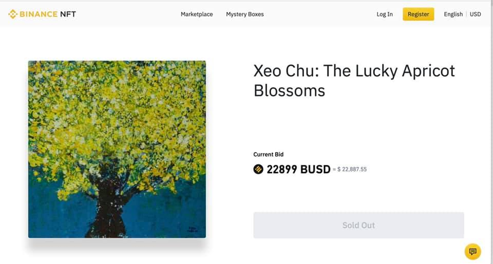 The Lucky Apricot Blossoms painting has been sold at nearly $23,000. Photo courtesy of Xeo Chu.