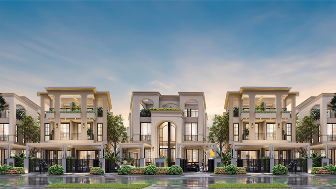 Design of semi-detached villas Song gia tuyet tac in Phuong Hoang island