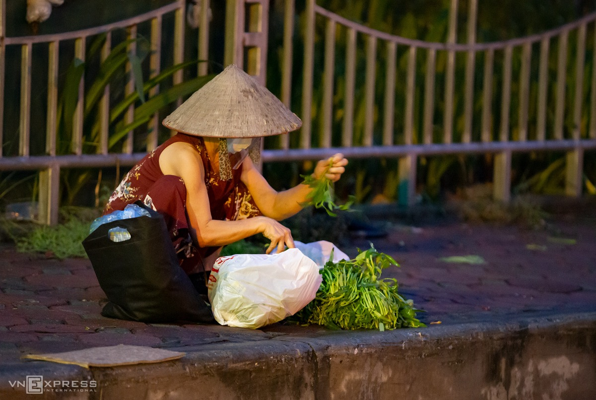 A buyer arranges her vegetable purchases before setting out for hone.