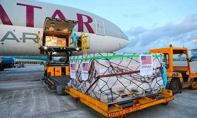 A batch of Moderna Covid-19 vaccine donated by the U.S. via Covax arrives at Hanois Noi Bai International Airport, July 10, 2021. Photo by the U.S. Embassy in Hanoi.