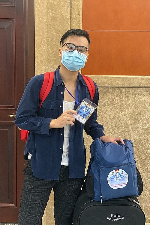 Nguyen Minh Tuan starts his one-month mission at a Covid-19 field hospital in Thu Duc City. 66 people in his group registered for a month, others registered for two months or longer. Photo courtesy of Nguyen Minh Tuan.