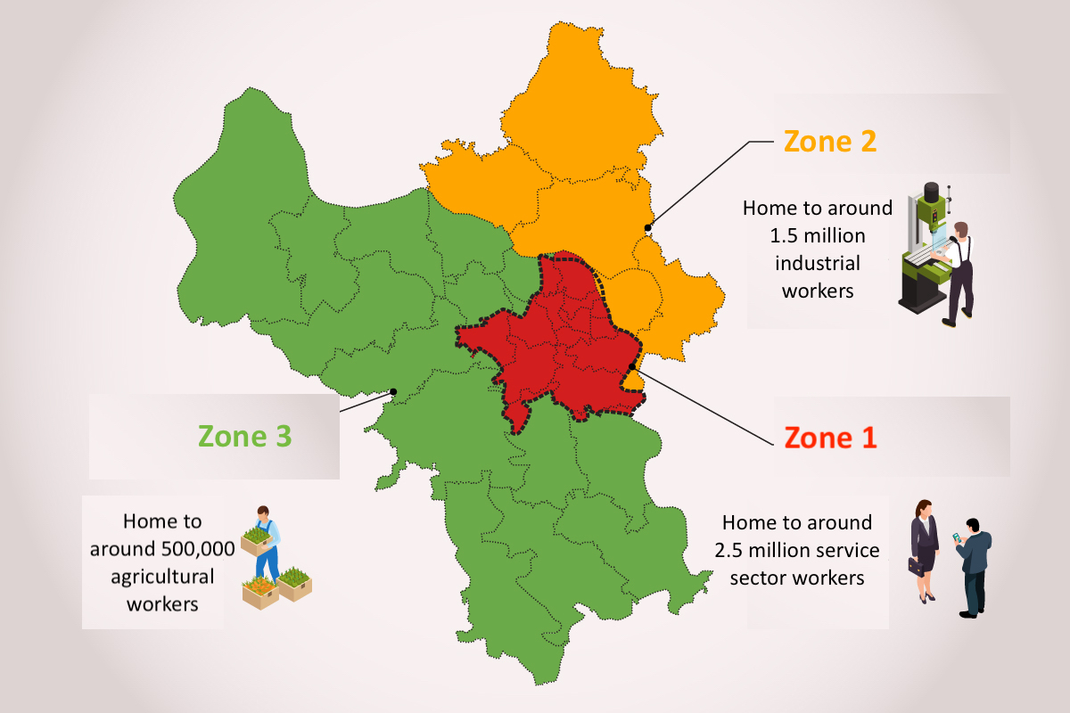 Three zones that will adopt different levels of social distancing in Hanoi between Sept. 6 and 21. Graphics by VnExpress/Tien Thanh