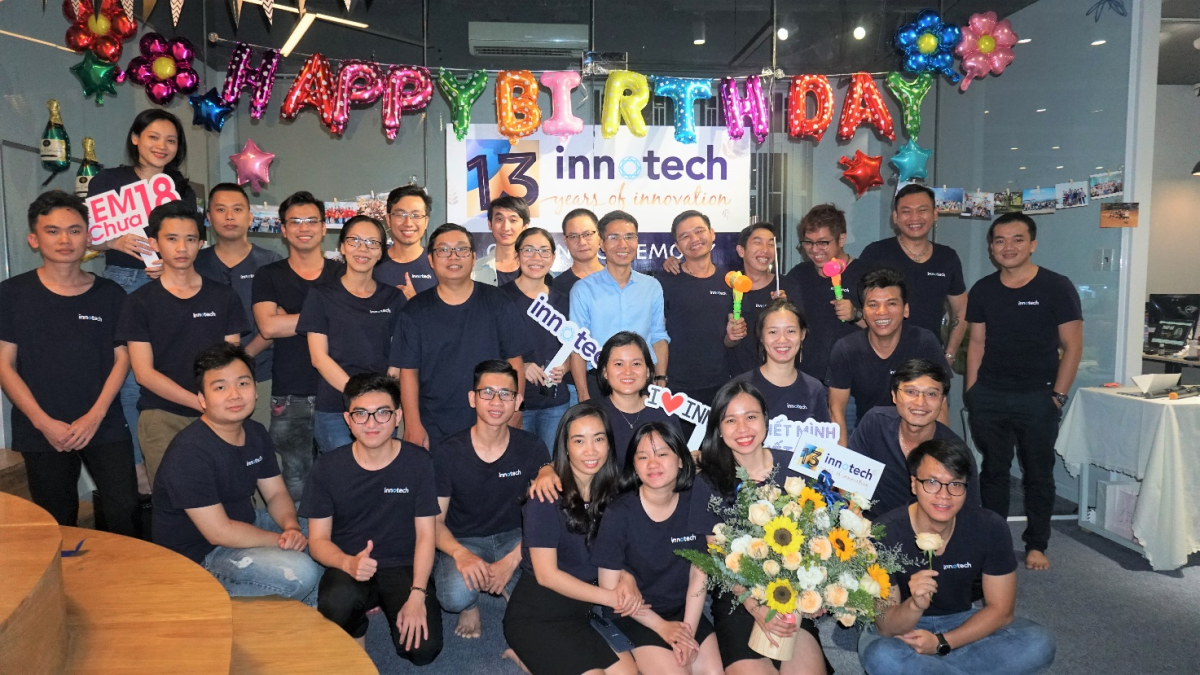 Staff of InnoTech on the companys 13th Birthday. Photo by: InnoTech