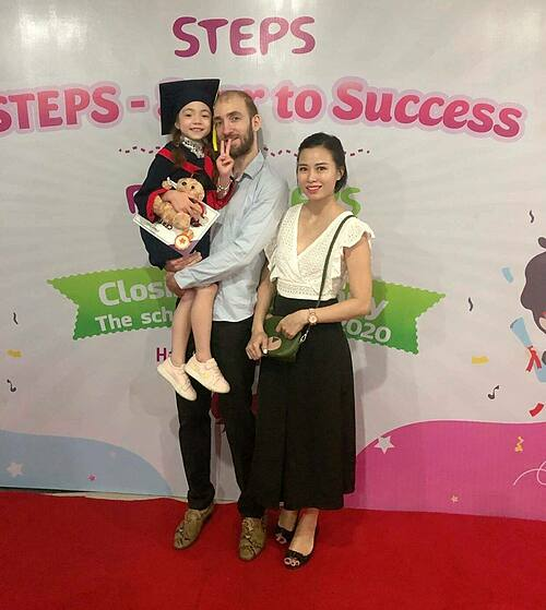 Ricky Valkeneer (C) with his wife and daughter in Hanoi, May 2020. Photo courtesy of Ricky Valkeneer