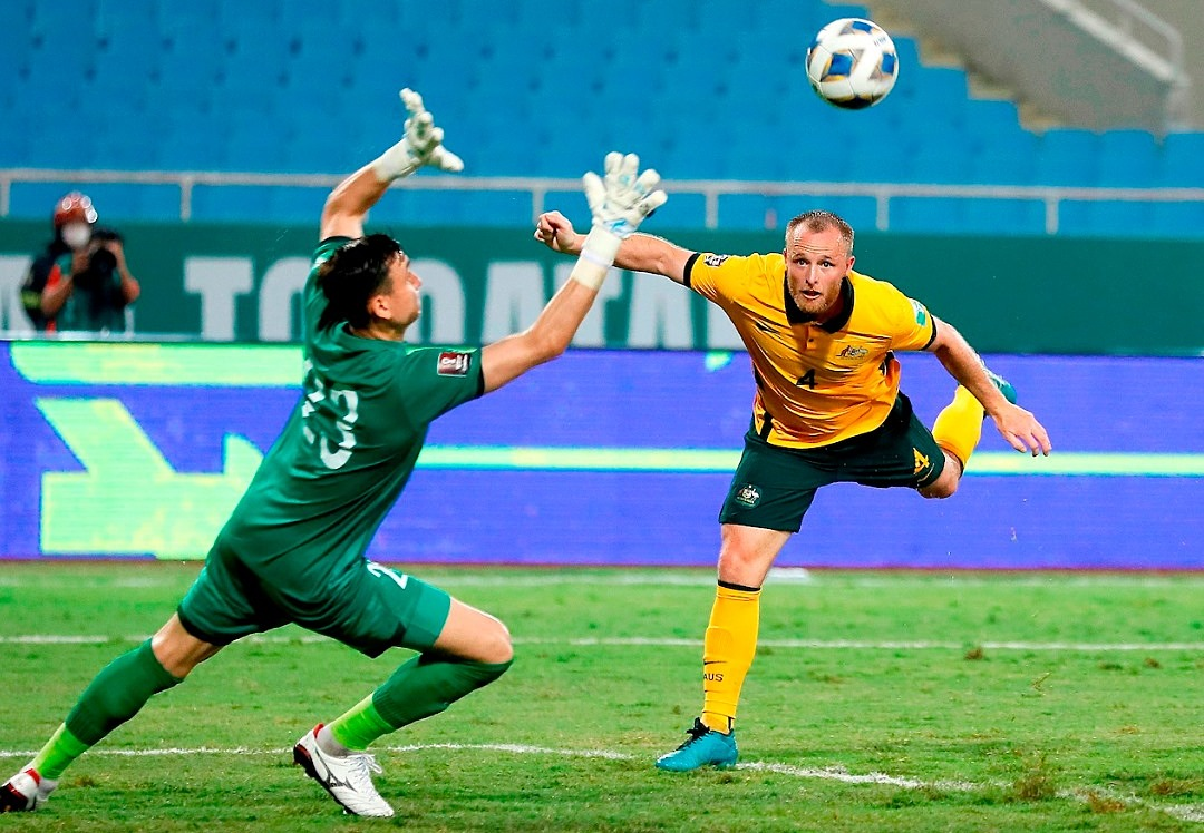 Rhyan Grant (R) scores for Australia in the World Cup qualifiers game with Vietnam in Hanoi on September 7, 2021. Photo by AFC