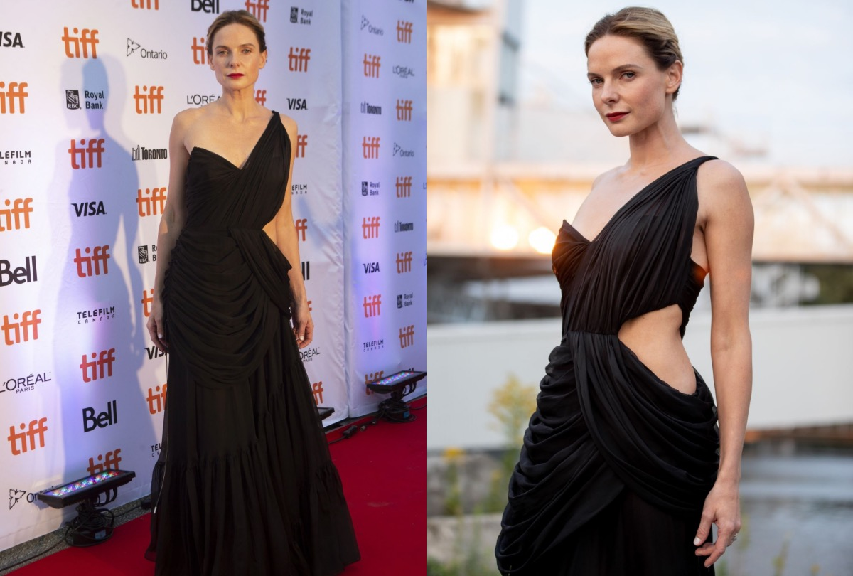 Rebecca Ferguson wears Cong Tri gown at the premiere of Dune in Toronto. Photo by AFP