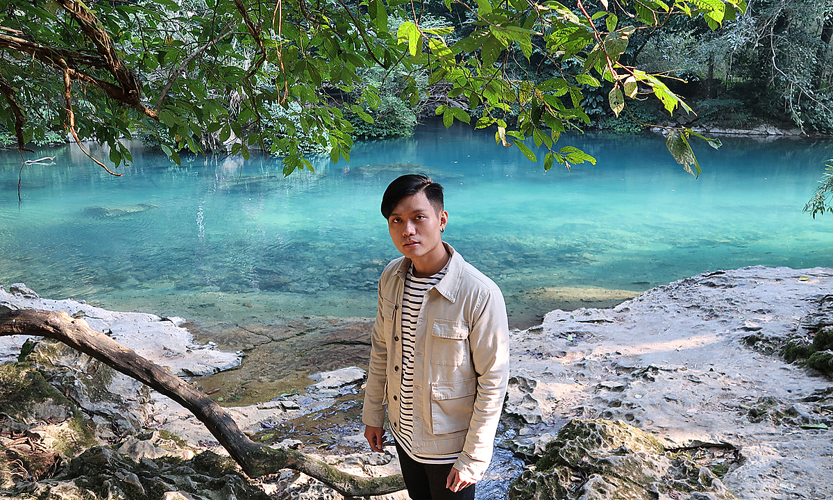 Ha Manh at Lenin stream during a trip to his native Cao Bang Province in May 2021. Photo courtesy of Manh
