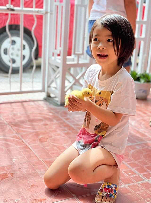 Nguyen Khac Thucs daughter plays with a duck in their home in Quang Binh Province. Photo courtesy of Thuc