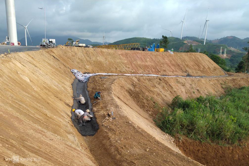 Construction debris at Quang Tri Province wind farms bury farmlands