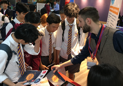 Students attend an education fair in Vietnam in 2019. Photo by Global Education Fair